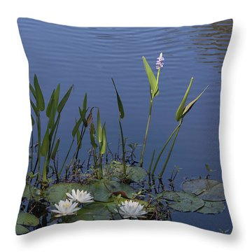 Yawkey Wildlife Reguge Water Lilies With Rare Plant Throw Pillow by Suzanne Gaff