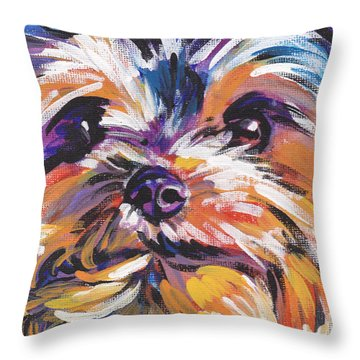 Yay Yorkie  Throw Pillow by Lea S