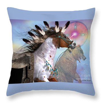 Year Of The Bear Horse Throw Pillow by Corey Ford