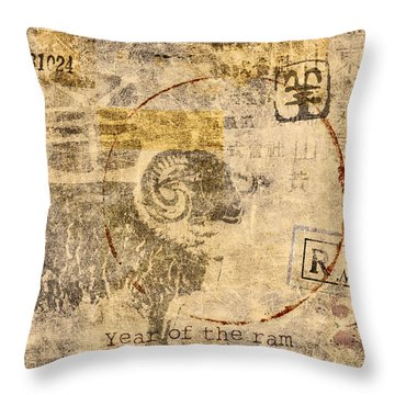 Year Of The Ram Postcard Throw Pillow