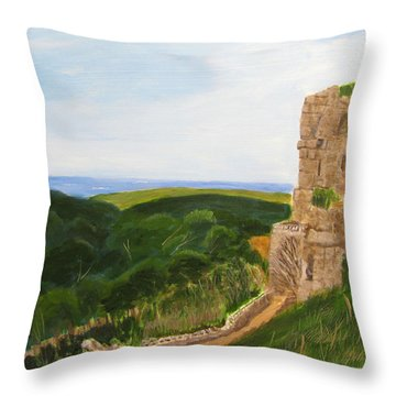 Throw Pillow featuring the painting Yehiam Fortress by Linda Feinberg