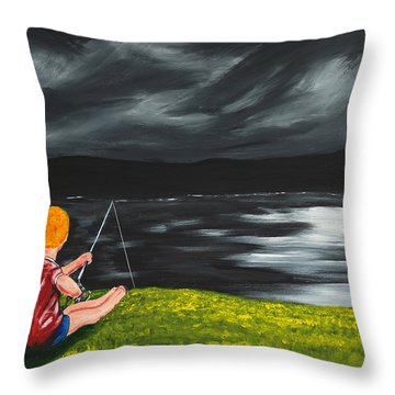 Throw Pillow featuring the painting Yel No Catch A Kelpie Wi That by Scott Wilmot