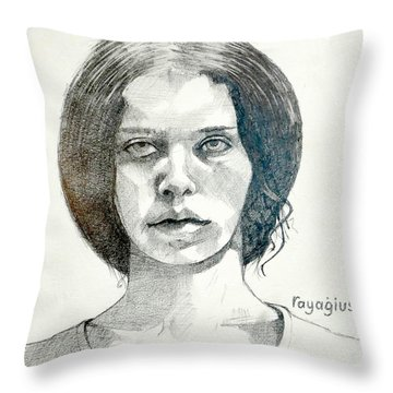 Throw Pillow featuring the drawing Yelena by Ray Agius