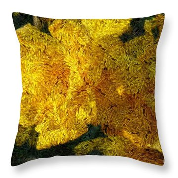 Yellow Abstraction Throw Pillow by Jean Bernard Roussilhe