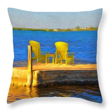 Yellow Adirondack Chairs On Dock In Florida Keys Throw Pillow