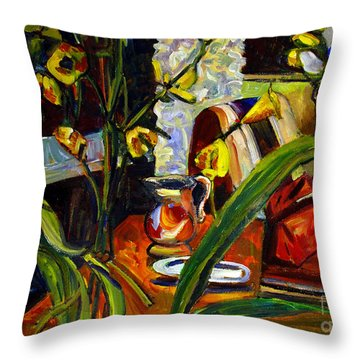 Throw Pillow featuring the painting Yellow All Over by Charlie Spear