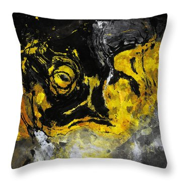Throw Pillow featuring the painting Yellow And Black Abstract Art by Ayse Deniz