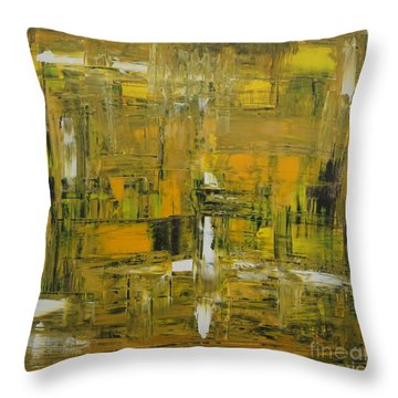 Yellow And Black Abstract Throw Pillow