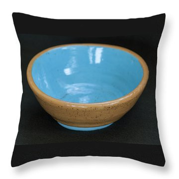 Yellow And Blue Ceramic Bowl Throw Pillow by Suzanne Gaff