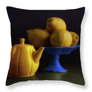 Yellow And Blue Still Life Throw Pillow