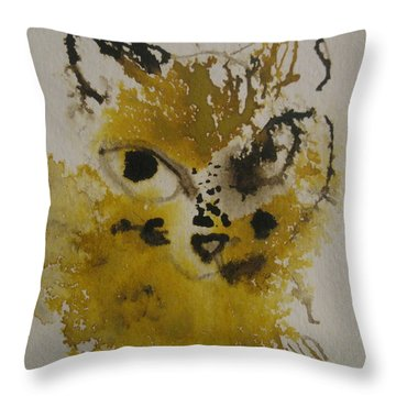 Throw Pillow featuring the drawing Yellow And Brown Cat by AJ Brown