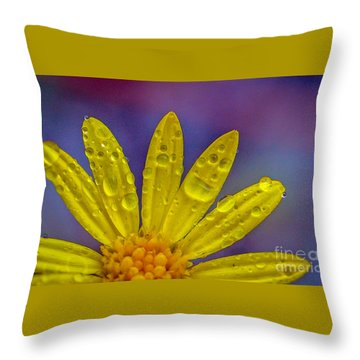 Yellow And Dew Throw Pillow