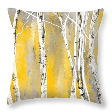 Yellow And Gray Birch Trees Throw Pillow