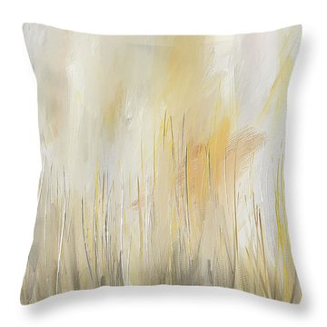 Throw Pillow featuring the painting Yellow And Gray Modern Wall Art by Lourry Legarde