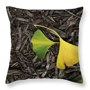 Yellow And Green Gingko Throw Pillow