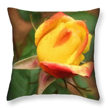 Yellow And Orange Rosebud Throw Pillow