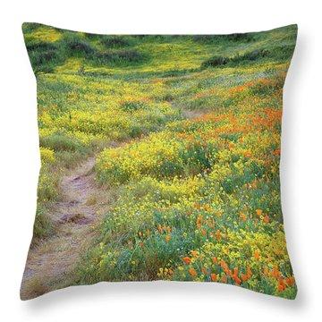 Yellow And Orange Wildflowers Along Trail Near Diamond Lake Throw Pillow