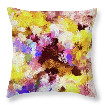 Throw Pillow featuring the painting Yellow And Pink Abstract Painting by Ayse Deniz