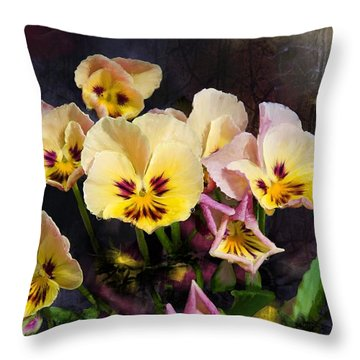 Yellow And Pink Pansies Throw Pillow