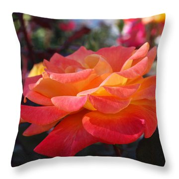 Yellow And Pink Rose Throw Pillow