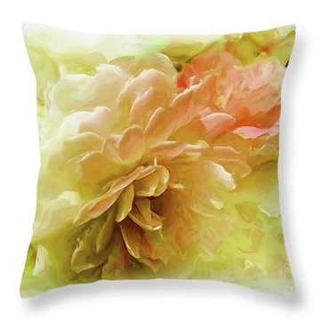 Throw Pillow featuring the photograph Yellow And Pink Roses by Elaine Manley