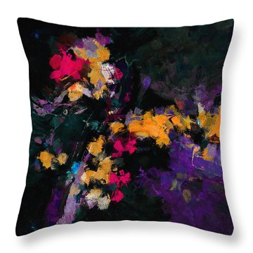 Throw Pillow featuring the painting Yellow And Purple Abstract / Modern Painting by Ayse Deniz