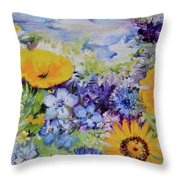 Yellow And Purple Flowers Field Throw Pillow