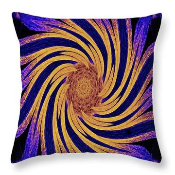 Throw Pillow featuring the digital art Yellow And Purple Rotational Modern Geometrical Art by Merton Allen