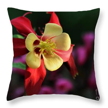 Yellow And Red Columbine Throw Pillow by Kenny Glotfelty