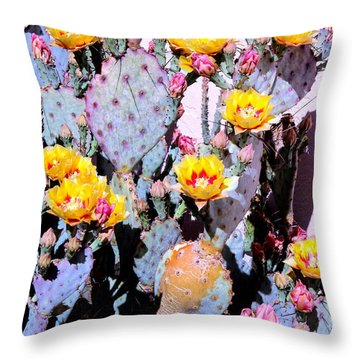 Yellow And Red Flower Throw Pillow by M Diane Bonaparte