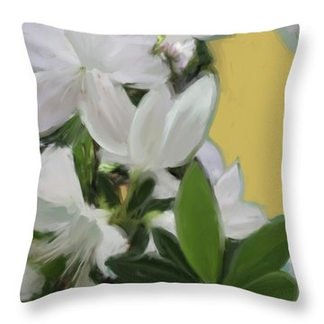 Yellow And White Flower Art 1  Throw Pillow