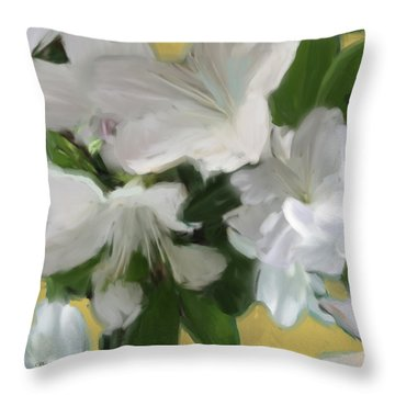 Yellow And White Flower Art 2 Throw Pillow