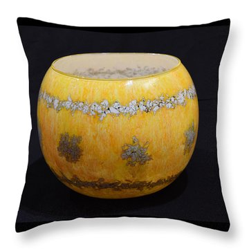 Yellow And White Vase Throw Pillow