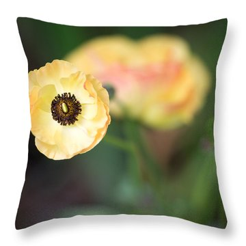 Yellow Anemone Center  Throw Pillow