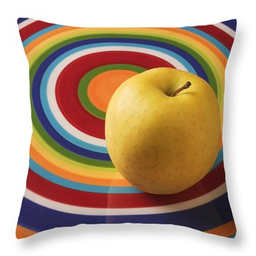 Yellow Apple  Throw Pillow by Garry Gay