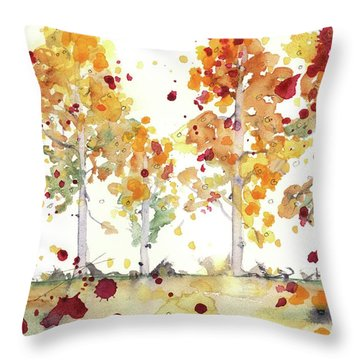 Throw Pillow featuring the painting Yellow Aspens by Dawn Derman