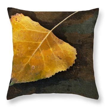 Yellow Autumn Leaf Throw Pillow