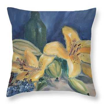 Yellow Aziatic Lily With Monarch Throw Pillow