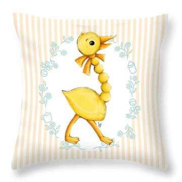 Yellow Baby Duck Throw Pillow