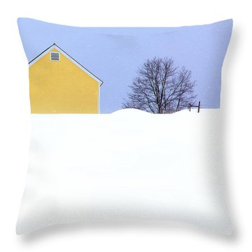 Yellow Barn In Snow Throw Pillow