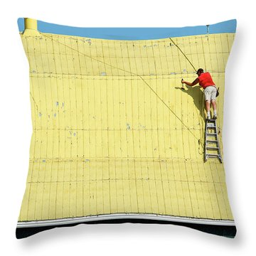 Yellow Barn Roof Workers-7 Throw Pillow