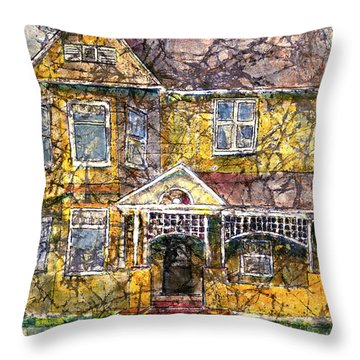 Yellow Batik House Throw Pillow by Arline Wagner