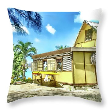 Throw Pillow featuring the photograph Yellow Beach Bungalow Bora Bora by Julie Palencia