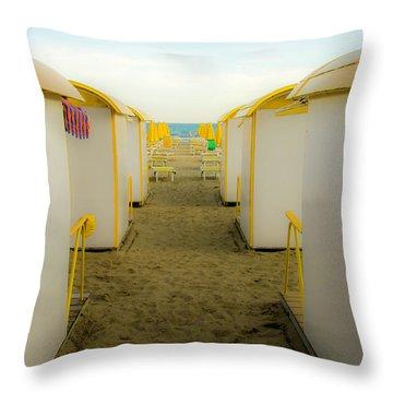 Yellow Beach Cabanas Throw Pillow