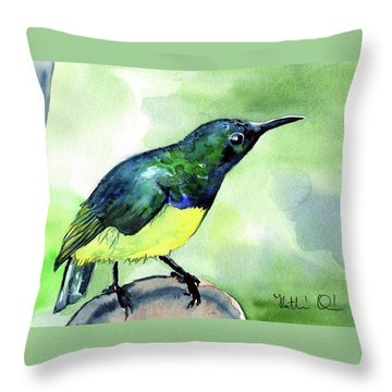 Throw Pillow featuring the painting Yellow Bellied Sunbird by Dora Hathazi Mendes