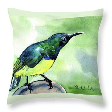 Yellow Bellied Sunbird Throw Pillow