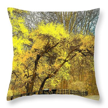Yellow Bend Throw Pillow