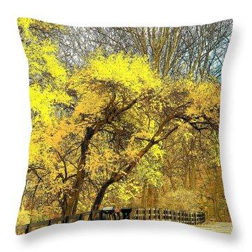 Yellow Bend Throw Pillow by Joyce Kimble Smith