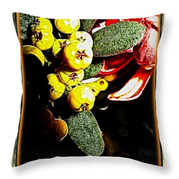 Throw Pillow featuring the photograph Yellow Berries by Joan  Minchak