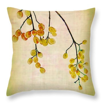 Yellow Berries Throw Pillow